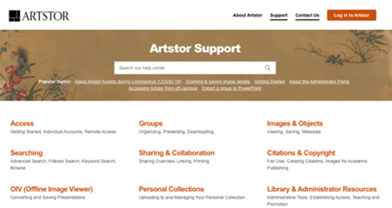 Artstor Support page with sectioned help options for Access, Searching, OIV (Offline Image Viewer), Groups, Sharing & Collaboration, Personal Collections, Images & Objects, Citations & Copyright, and Library & Administrator Resources