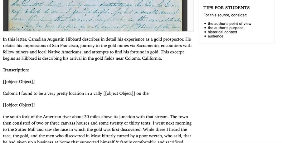 A transcript of a hand-written letter