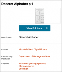 Item page for Deseret Alphabet p.1 with metadata elements Description, Partner, Contributing Institution, and Subjects