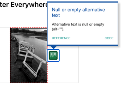 """A black-and-white photograph of construction barricades along the side of a road with a popup message stating """"Null or empty alternative text. Alternative text is null or empty (alt="""""""")."""""""