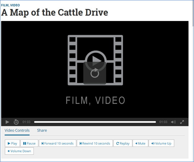 "A film for ""A Map of the Cattle Drive"" that does not provide any transcripts and no options for skipping."