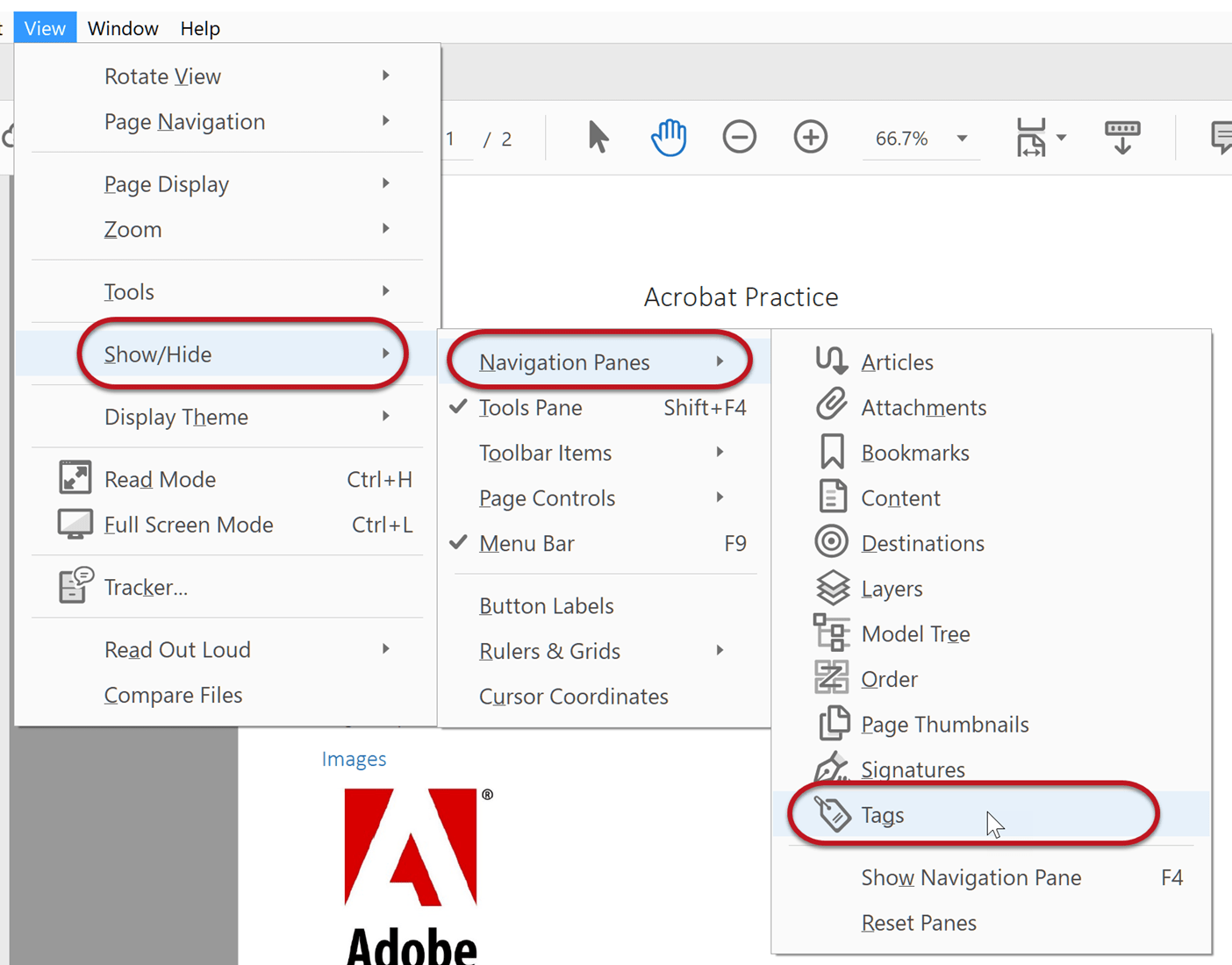 Menu walkthrough to access PDF tags: Go to View, Show/Hide, Navigation Panes, and Tags