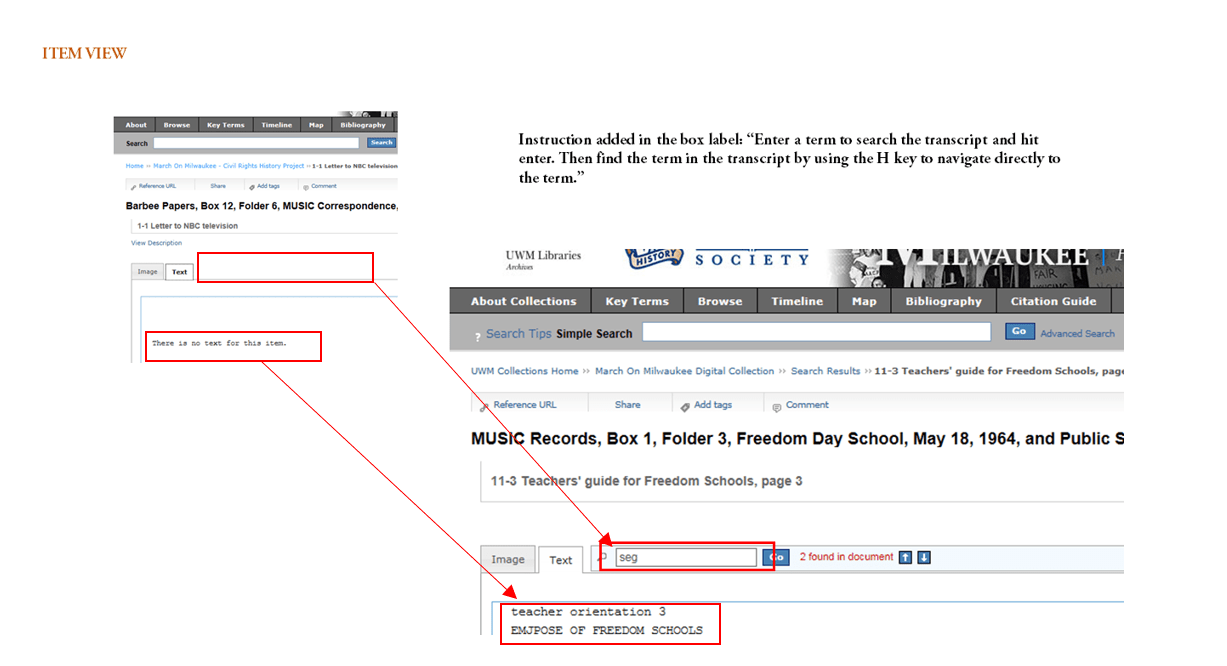 """Instruction added in the box label: """"Enter a term to search the transcript and hit enter. Then find the term in the transcript by using the H key to navigate directly to the term."""""""
