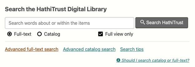 HathiTrust search bar with Search tips option positioned under search bar next to Advanced catalog search
