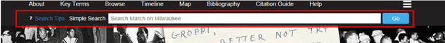 Example of simple search bar located at the top of the page under the horizontal navigation menu