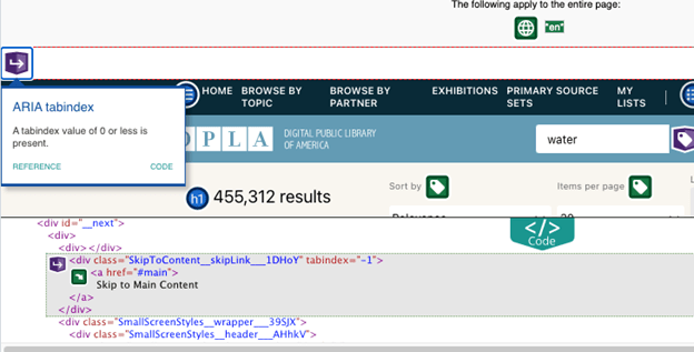 "Code for DPLA search results featuring a skip link: <div class=""SkipToContent_skipLink_1DHoY"" tabindex=""-1""><a href=""#main""> Skip to Main Content </a> </div>"
