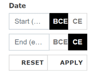 Date range selector options with BCE and CE labels