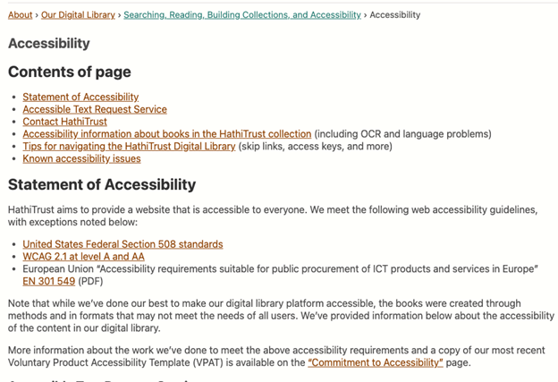 Accessibility page within About section, featuring information such as Statement of Accessibility, Accessible Text Request Service, Accessibility information about books in the HathiTrust collection, Tips for navigating the HathiTrust Digital Library, Known accessibility issues, and contact information