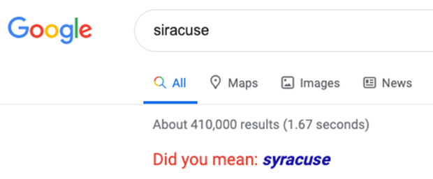 "Google search interface for ""siracuse"" with suggestion ""Did you mean: syracuse"""