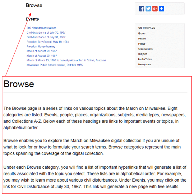 """Example of supplementary text to describe browse: """"The Browse page is a series of links on various topics about the March on Milwaukee. Eight categories are listed: Events, people, places, organizations, subjects, media types, newspapers, and Collections A-Z. Below each of these headings are links to important events or topics, in alphabetical order..."""""""