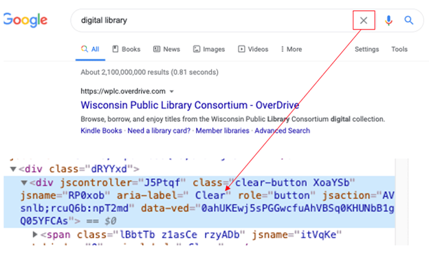 """Google interface with X button next to input field to clear search terms. Aria label applied (aria-label=""""Clear"""")"""