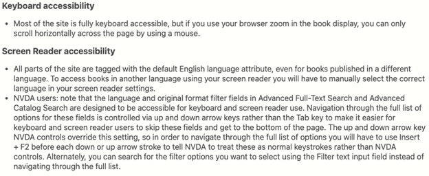 Help tip information including keyboard accessibility and screen reader accessibility