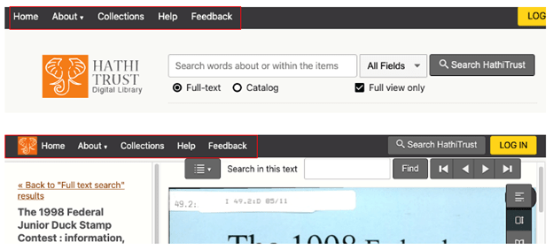 HathiTrust interface with emphasis box added to navigation bar in top left corner of page