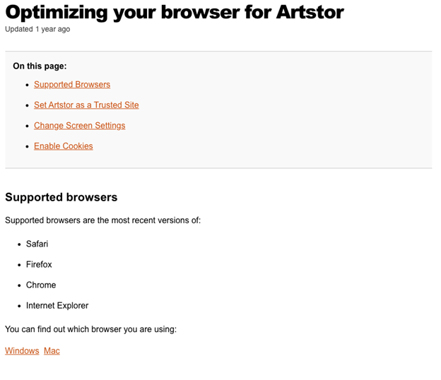 Optimizing your browser page from ArtStor with menu for Supported Browsers, Set Artstor as a Trusted Site, Change Screen Settings, and Enable Cookies
