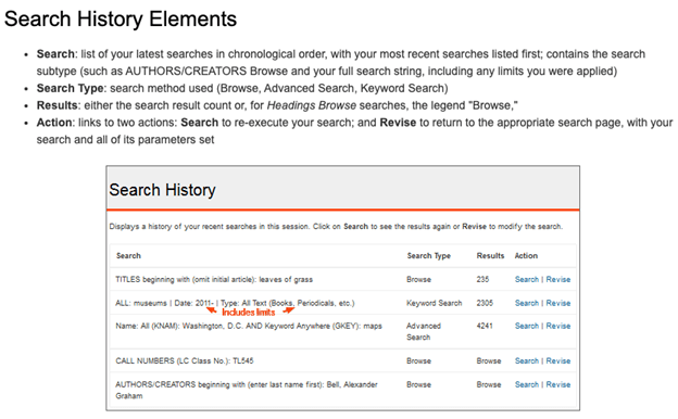 Search History Elements page with explanations for Search, Search Type, Results, and Action as well as an example of Search History that includes links on details such as date and format