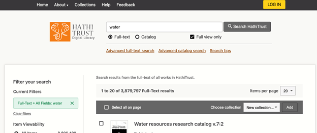 HathiTrust search results page featuring consistent layout (search bar with current search, results list, filter options) and top navigational menu