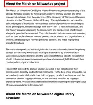"Content page with added section name ""About the March on Milwaukee project"" before content"