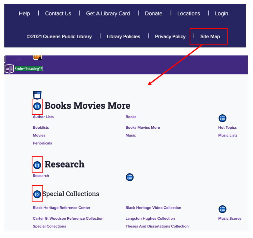 Sitemap navigational link in footer of page leading to sitemap with sections such as Books Movies More, Research, and Special Collections