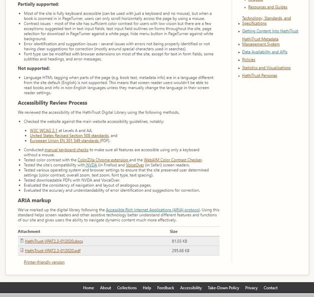 HathiTrust Commitment to Accessibility page, which lists what is partially supported and not supported along with information on the Accessibility Review Process