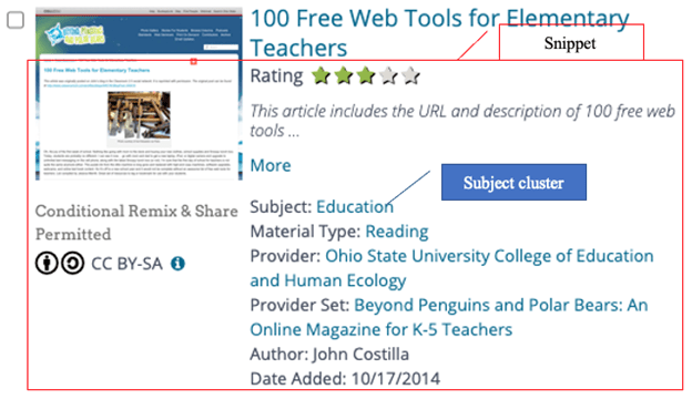 """Search result information for item """"100 Free Web Tools for Elementary Teachers"""" with snippet including rating, material type, date added, and author as well as subject cluster (Subject: Education)"""