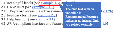 Recommended Features: 1.1. Meaningful labels (See link example 1.1.a). When you hear link in the recommended features, it is the link to an example. When you click it here, it links to example 1.1.a).