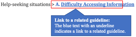 See also: Help-seeking situations > link difficulty Accessing Information. When you listen to Link in See Also, it is a link to related guidelines. Here, it links to Difficulty Accessing Information.