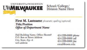 UWM business card example.