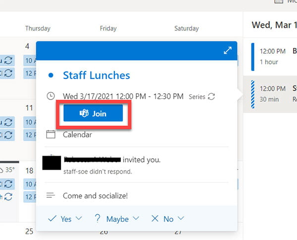 Outlook Join a Meeting button view.