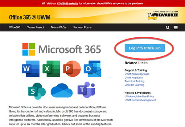 Office 365 Log into Office 365 button view.