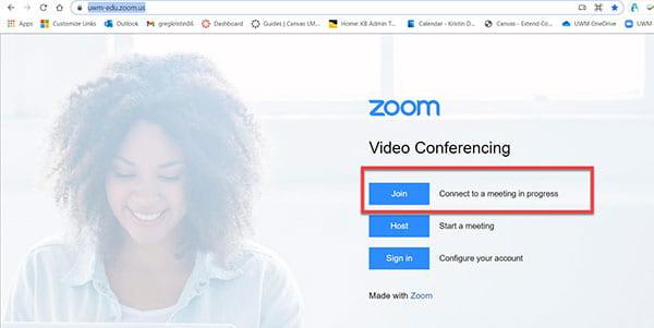 UWM Zoom landing webpage.