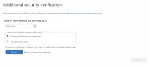 Figure 2. screenshot of additional security verification settings console Step 1