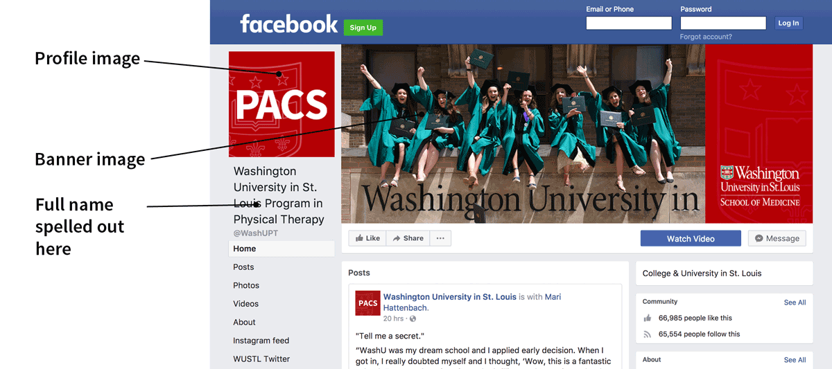 Screenshot showing avatar and banner image on PACS Facebook page.