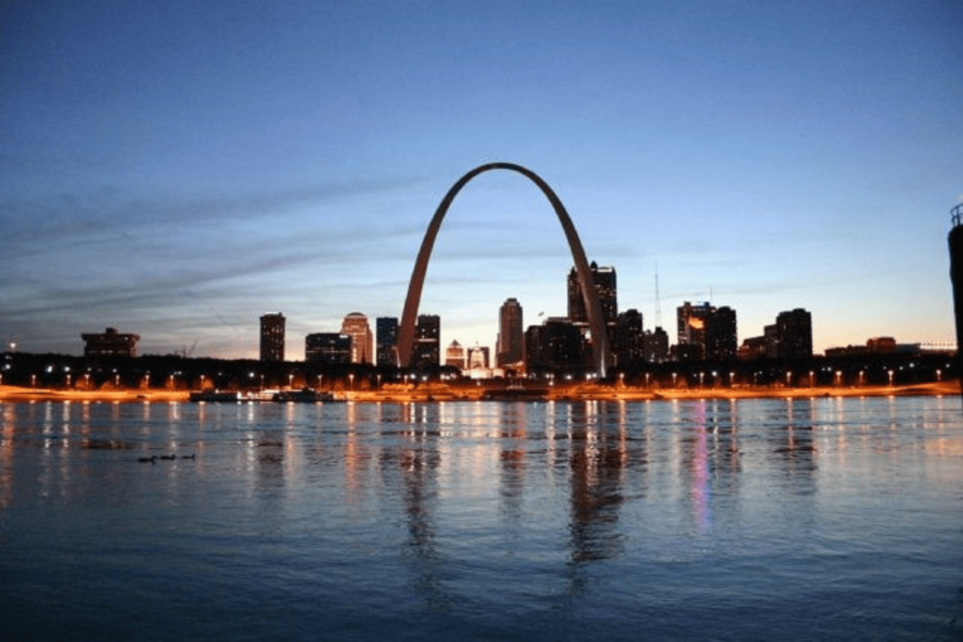 Evening skyline photo of downtown St. Louis