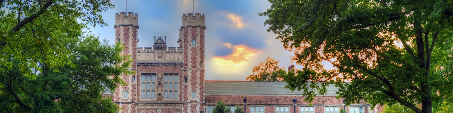 August 26, 2013 - An evening view of Brookings Hall.  Photo by James Byard