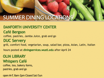 Summer Dining Locations Danforth University Center Cafe Bergson DUC Servery Olin Library Whispers Cafe