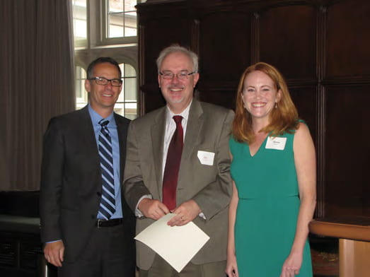 William G. Powderly, MD (center), was inducted into the Gamma Sigma chapter of the Delta Omega Honorary Society in Public Health on May 19, 2016. (Shown here with the Brown School's Dr. Matt Kreuter, associate dean for public health, and Alexis Duncan, president of the Gamma Sigma chapter of Delta Omega).