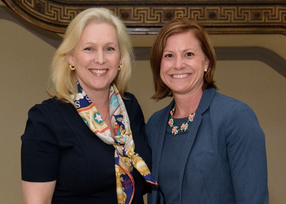 Senator Kirsten Gillibrand (D-NY) and Sarah Moreland-Russell in the Russell Senate Building, May 2016.