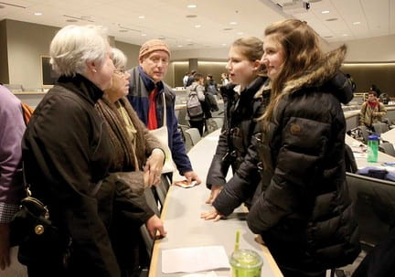 STL Village members Mary Kellogg and Nancy and Arthur Culbert with Washington University sisters Hayley and Taylor Emerson. photo by Diana Linsley.
