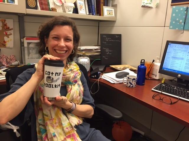 "Ana Baumann with her ""Got My Toolkit"" mug."