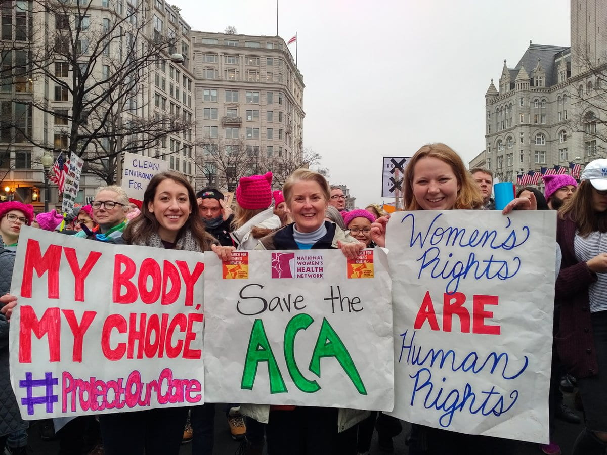 Caila (far right) at the Women's March on Washington with National Women's Health Network Executive Director Cynthia Pearson (Center) and intern Kelly Cucolo.