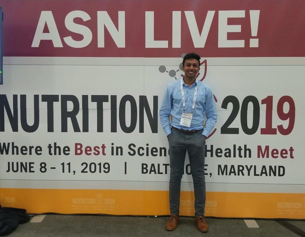 Vineeth at Nutrition 2019, where he presented his research.
