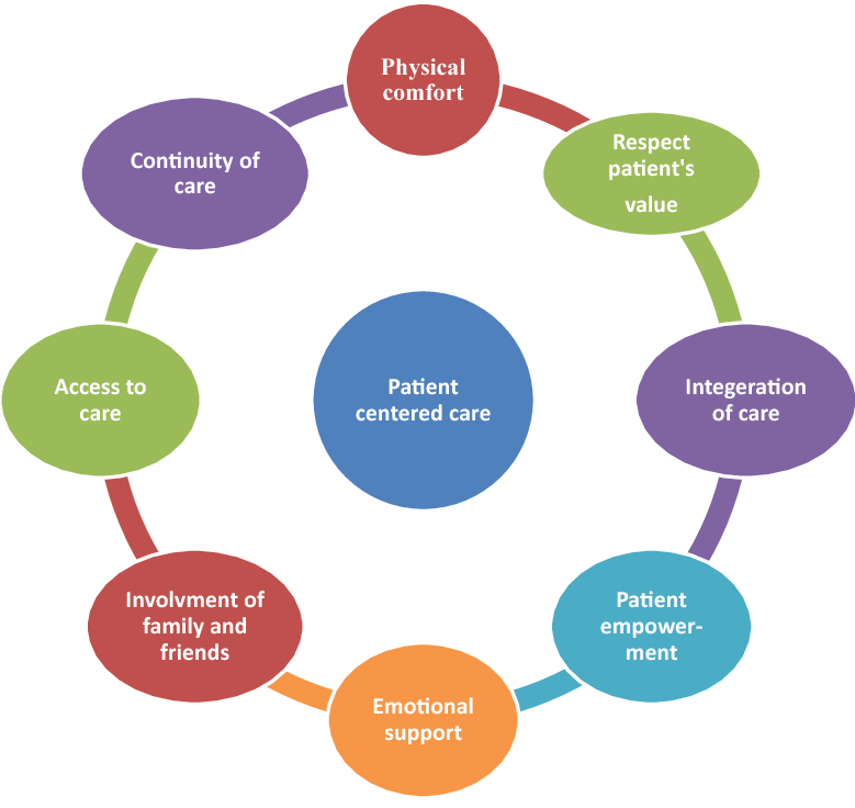 The makings of patient-centered care: physical comfort, respect for patient's value, integration of care, patient empowerment, emotional support, involvement of family and friends, access to care and continuity of care.