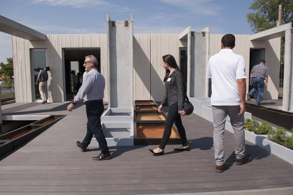 Attendees wander CRETE House's Meandering Deck.