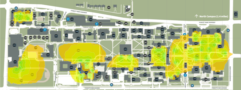 Danfoth Campus outdoor WiFi coverage map