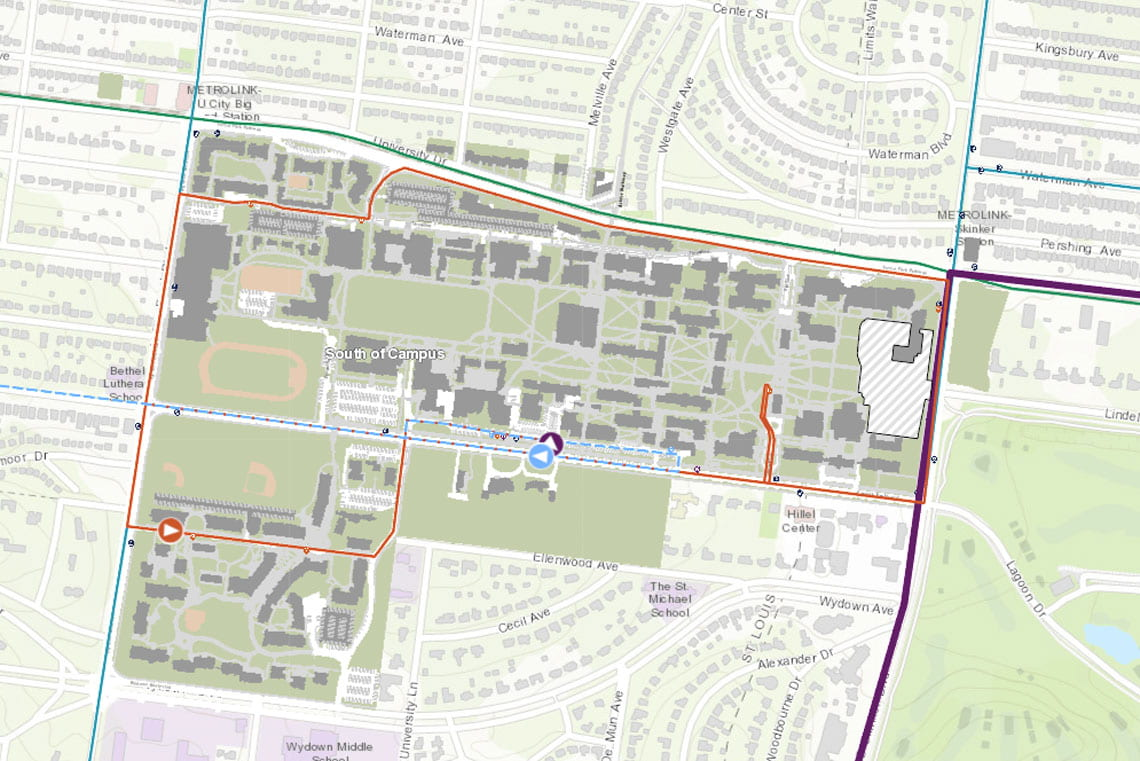 Map of WashU campus shuttle routes