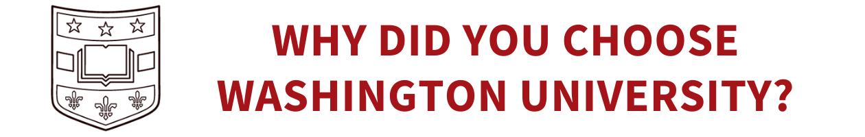 Washington University shield logo. Why did you choose Washington University?