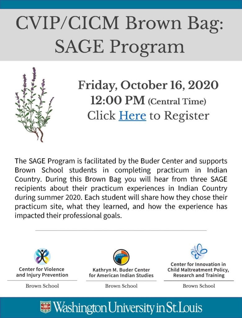 The SAGE Program is facilitated by the Buder Center and supports Brown School students in completing practicum in Indian Country During this Brown Bag you will hear from three SAGE recipients about their practicum experiences in Indian Country during summer 2020 Each student will share how they chose their practicum site, what they learned, and how the experience has impacted their professional goals