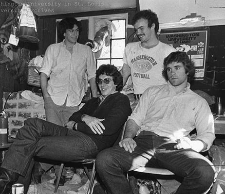 Ramis, second from left, seated, with friends during a campus visit in 1979
