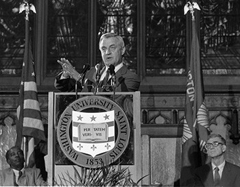 Walter Mondale, the 1984 Democratic presidential candidate, delivers an address in Graham Chapel