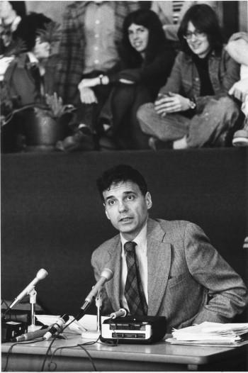 Ralph Nader speaking on campus in 1989